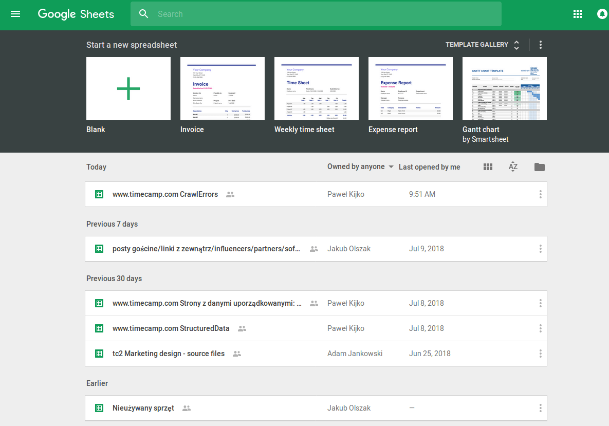 Google Sheets Time Tracker
