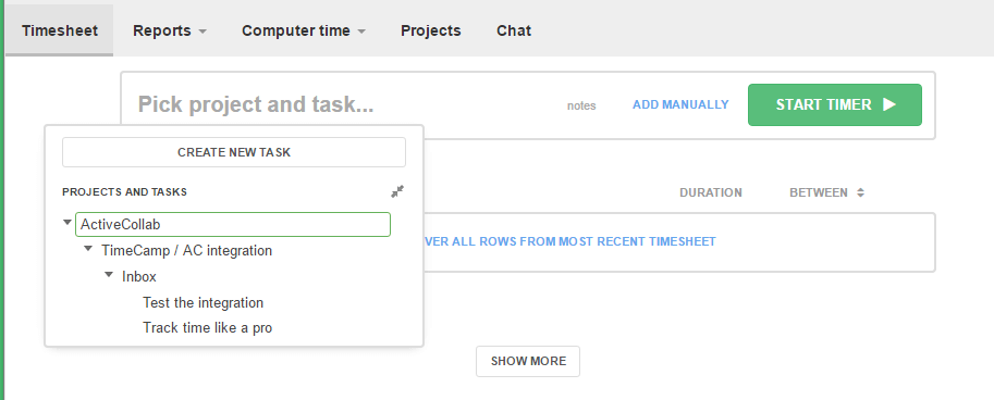ActiveCollab Time Tracker