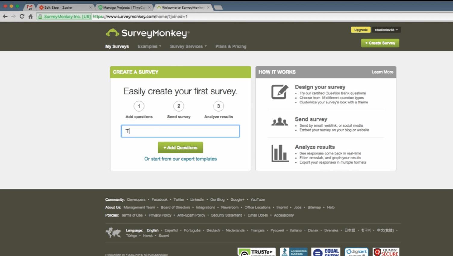 Survey Monkey Time Tracker