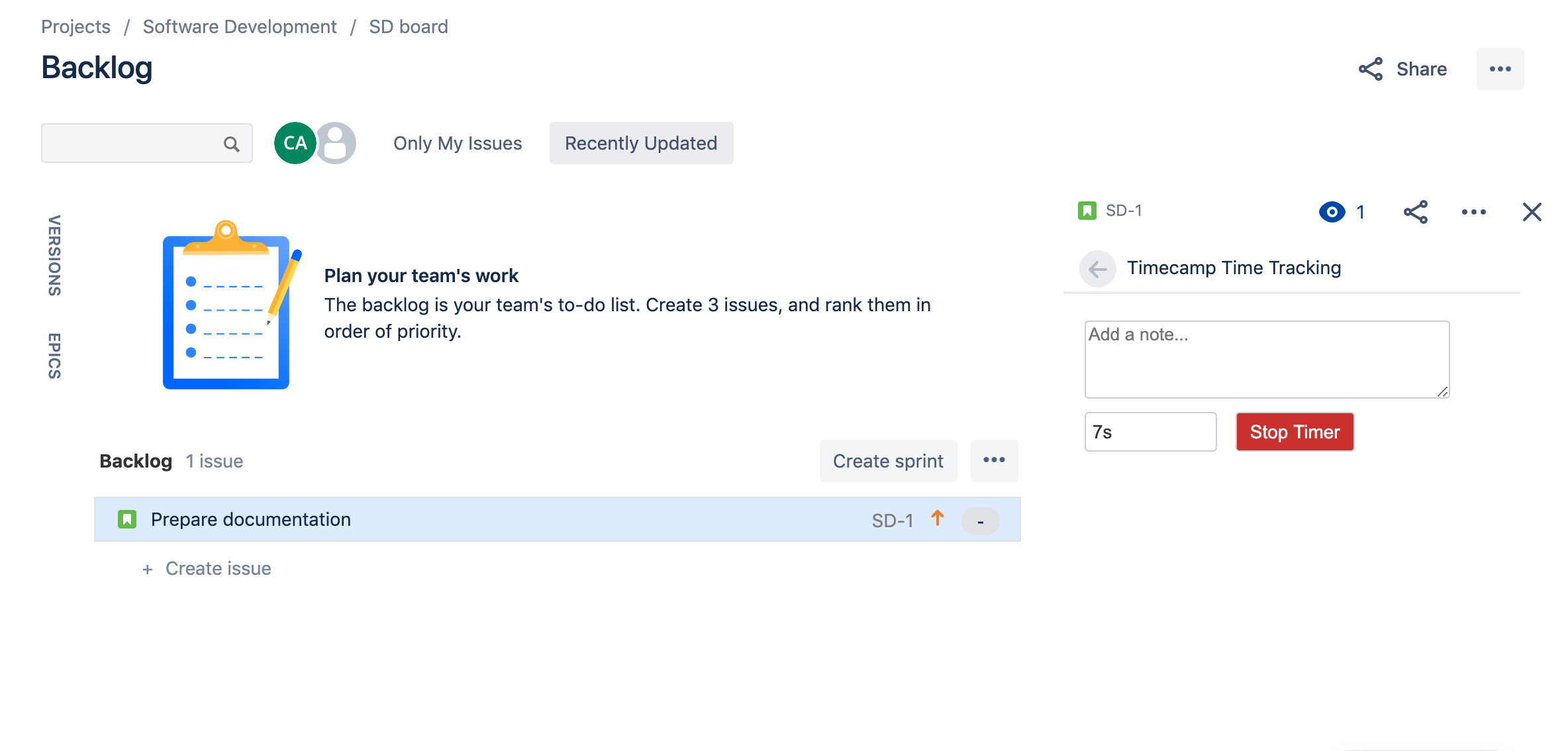 Jira integration screenshot